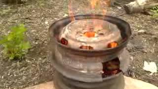 Печь под казан (или ведро) из колесных дисков своими руками. Усовершенствована путем упрощения.