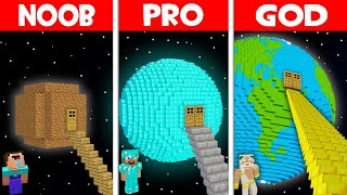Minecraft NOOB vs PRO vs GOD: NOOB FOUND STAIRS TO THE PLANET HOUSE! (Animation)