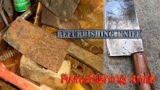 Very rusty cleaver (butcher knife) restoration part 1 - Refurbishing a very cool vintage knife