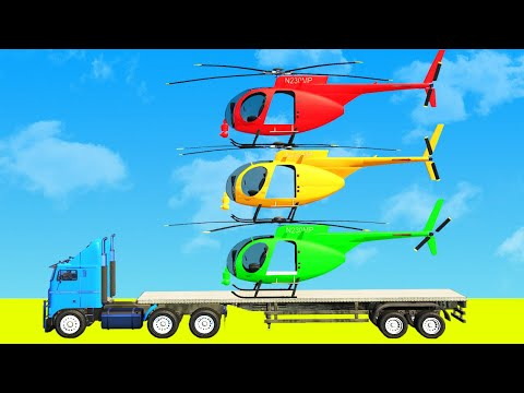 SPIDERMAN Helicopter Transporting on TRUCK CARS Lamborghini and Motorcycles with Superheroes Racing  