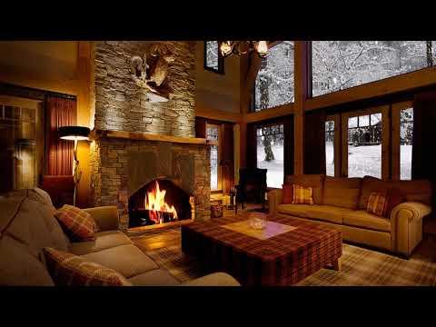 Fireplace in a winter house-Камин в зимнем доме