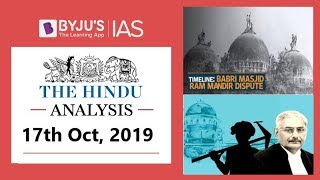'The Hindu' Analysis for 17th October, 2019 (Current Affairs for UPSC/IAS)