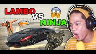 Ninja+SUPERBIKE Vs Lamborghini Aventador!! (malupet na laban)   Gta 5 Roleplay