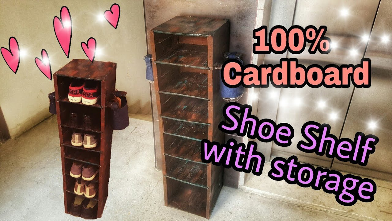 Diy Cardboard Furniture Cardboard Shoe Shelf Rustic Looks Youtube