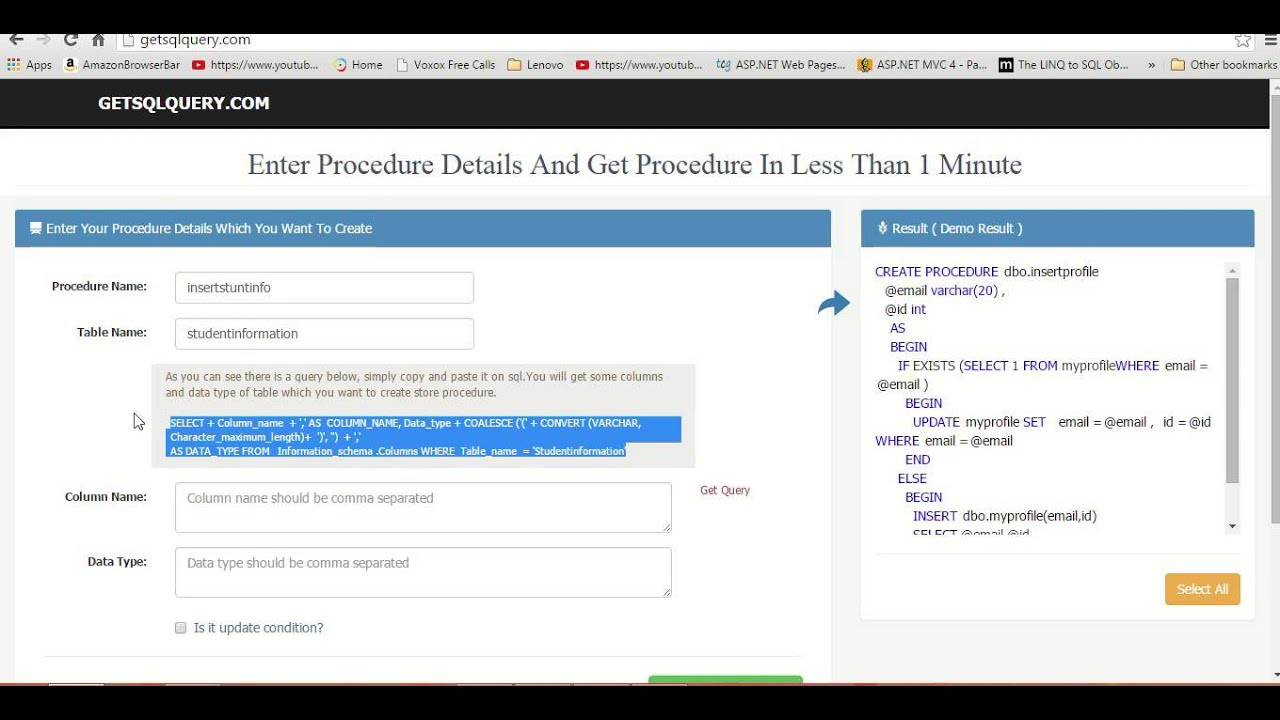 HOW TO CREATE STORED PROCEDURE IN LESS THAN 1 MINUTE - Getsqlquery com