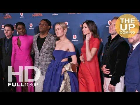 Captain Marvel premiere arrivals photocall London: Brie Larson Jude Law Gemma Chan Samuel L Jackson