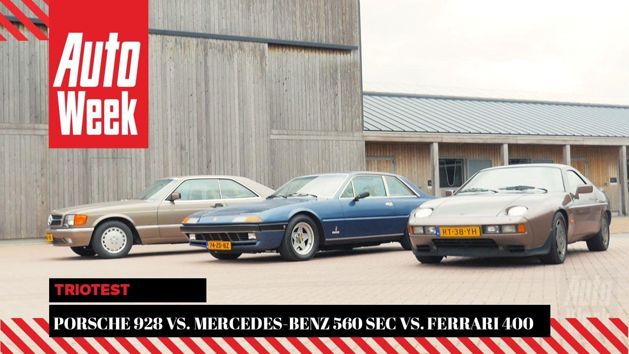 porsche 928 vs mercedes 560 sec vs ferrari 400i autoweek classics triotest youtube. Black Bedroom Furniture Sets. Home Design Ideas