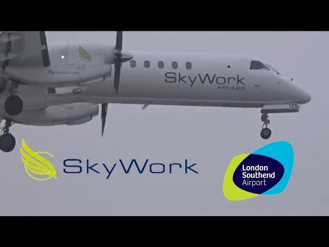 Skyworks Saab 2000 HB-IZB Arrival At London Southend Airport