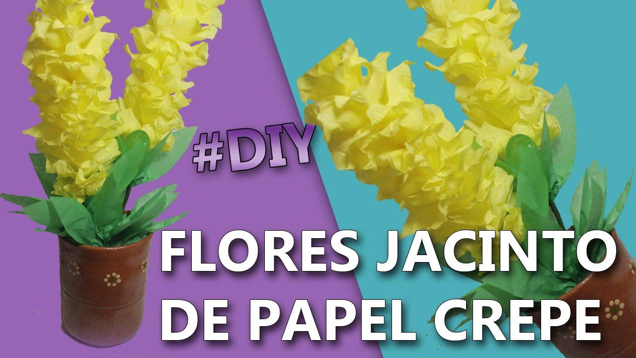 Flores de papel crepe faciles y bonitas flores jacinto - Videos de como hacer crepes ...