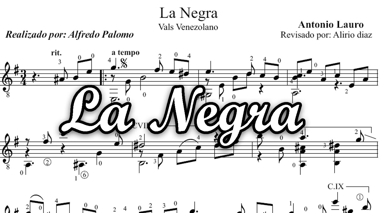 Partitura la negra para guitarra cl sica de antonio lauro for Partituras de guitarra clasica