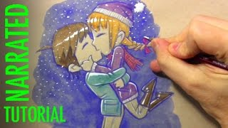 How to Draw a Chibi Kiss (Winter Scene)