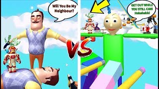 WHOSE T-POSE IS BETTER?! BALDI VS HELLO NEIGHBOR | The Weird Side of Roblox: Spongebob Coaster Obby