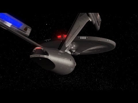 Star Trek Starship Enterprise flyby and warp speed.Recreatio