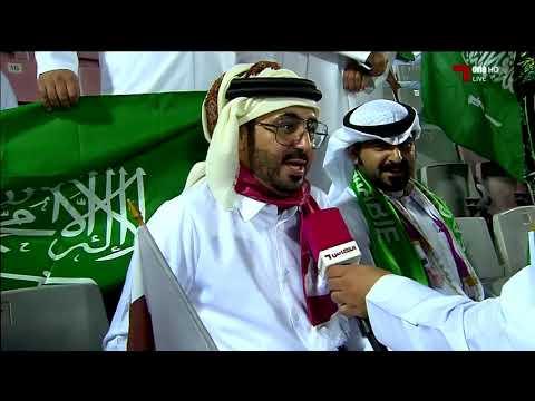 جماهير  منتخب السعودية في ملعب عبدالله بن خليفة بنادي الدحيل مسرح نهائي خليجي24