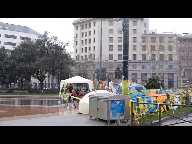 Nevada a la Plaça de Catalunya Barcelona - Febrer 2018