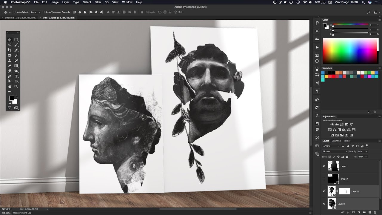 Photoshop tutorial mockup 3d canvas on wall interior design photoshop tutorial mockup 3d canvas on wall interior design baditri Images