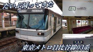 【最近では滅多に見なくなった】東京メトロ日比谷線03系に乗車してきた。