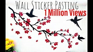 HOW TO PASTE WALL PAPER STICKER ON WALL- HUMMING BIRD