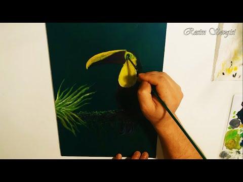 Resim Nasıl Yapılır | Çizilir #7 Ağaç ve Kuş Çizimi Tukan Kuşu – Acrylic / Bird in the tree, Toucan