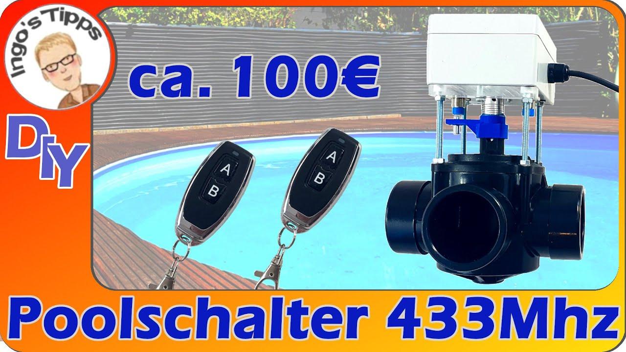 Kugelhahn Pool mit elektrischem Stellantrieb selber bauen mit Funk Fernbedienung 433MHz | IngosTipps