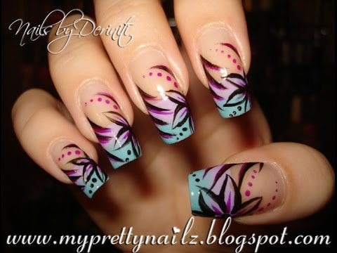 Ombre French Tips With Hand Painted Flower Design Using Nail Polish