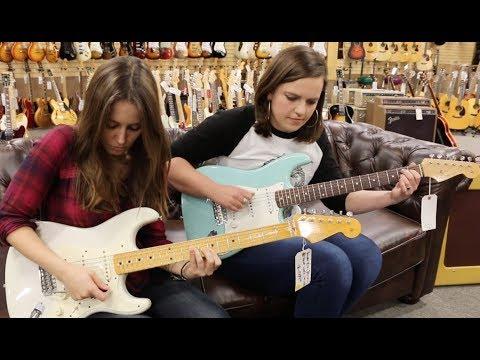 Mary Spender & Angela Petrilli on Straturday!  1965 Fender Strat Sonic Blue & Eric Johnson Strat