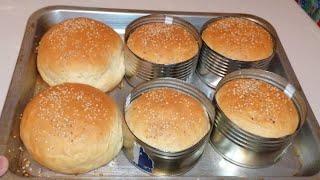 Como hacer pan de hamburguesa perfecto en latas de atún o latas recicladas como molde