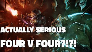 Starcraft 2: A Real Team Game?! (Full Squad Four vs Four)