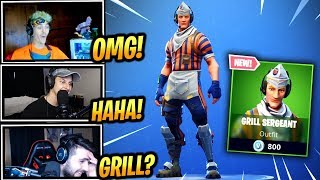 STREAMERS REACT *NEW* GRILL SERGANT SKIN! - Fortnite Epic & Funny Moments (Fortnite Battle Royale)