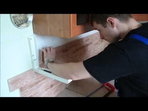 Укладка каменных обоев (кухонный фартук)