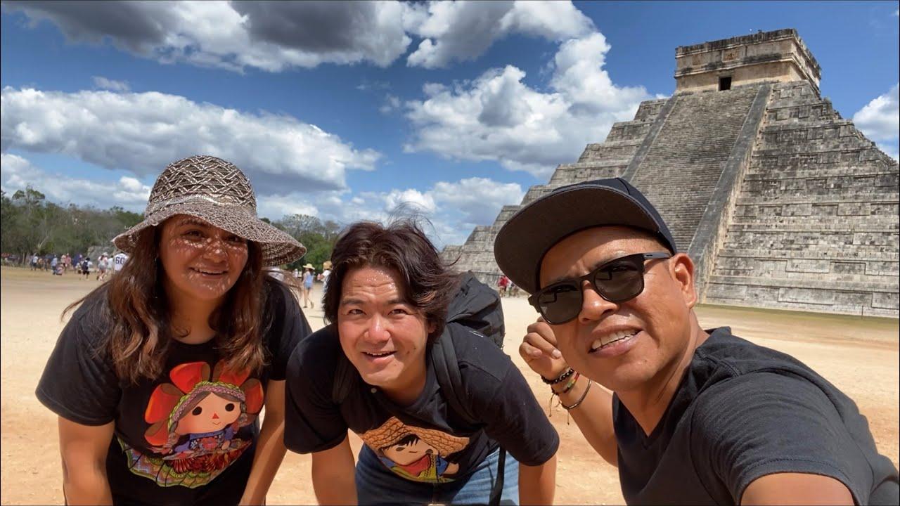 An adventure with spray art eden and Porfirio Jimenez, at chichen itza, Cancun beach
