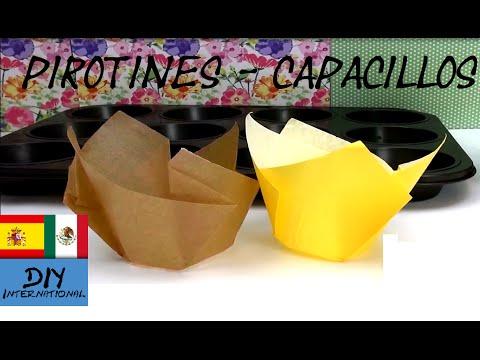 CÓMO HACER PIROTINES, CAPACILLOS Ó CÁPSULAS PARA CUPCAKES Y MUFFINS - TUTORIAL DIY