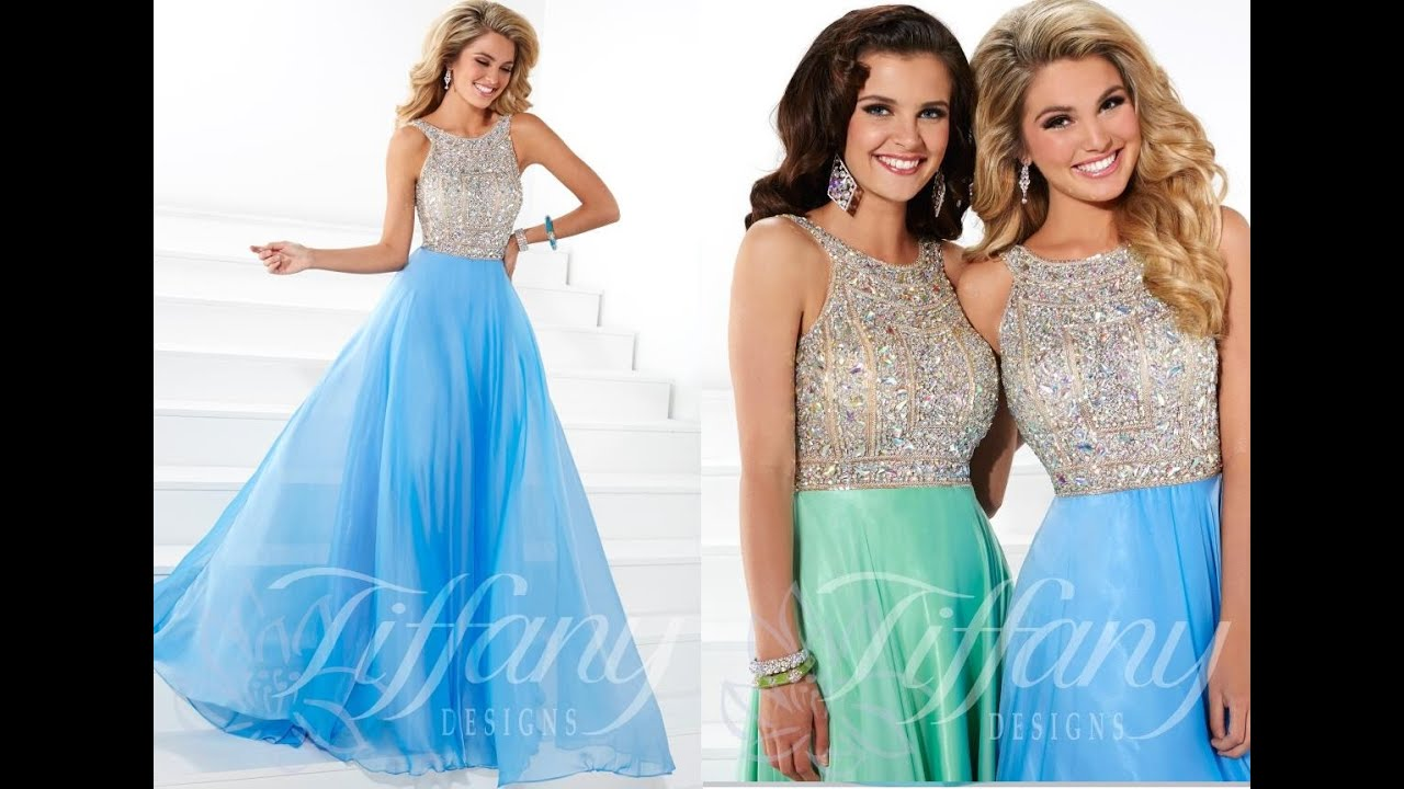 Tiffany Prom Dress 16083 from Peaches Boutique, Chicago, IL - YouTube
