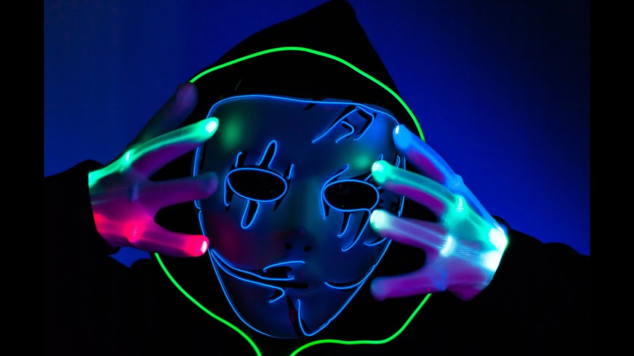 Neon LED EL Wire Mask, Rave mask, Halloween mask from TurnNeon - YouTube