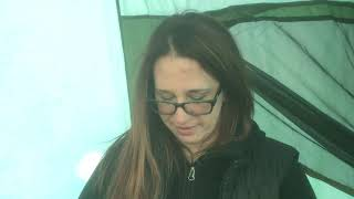 Hot tent winter camṗing in the Berkshires MA 2/23/2020 (sorry for the windy audio)