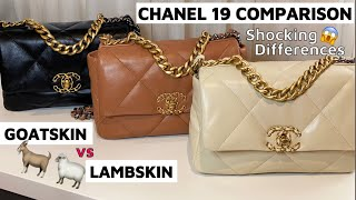 REVIEW: CHANEL 19 LEATHERS | GOATSKIN VS LAMBSKIN | SMALL 21P CARAMEL | 21P BEIGE | 20A BLACK