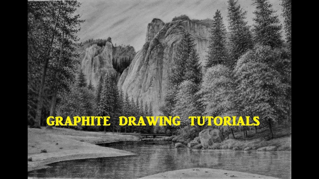 how to draw a mountain landscape with pencil