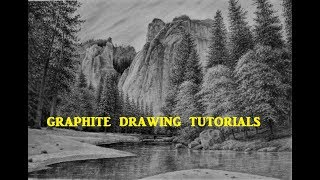 How To Draw a Landscape With Mountains Trees & Water, Graphite Pencil Drawing