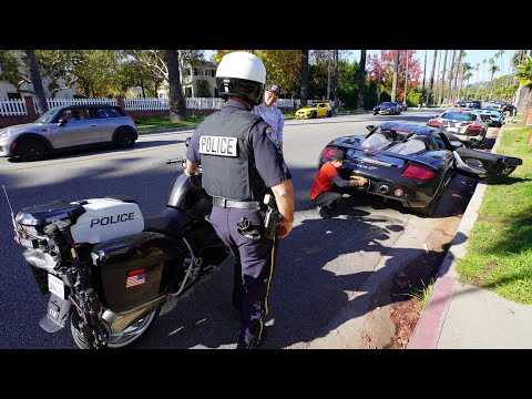 BEVERLY HILLS POLICE TAKE DOWN SUPERCARS FOR...