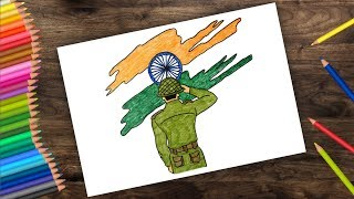 Salute to Indian Flag   Drawing for Independence Day