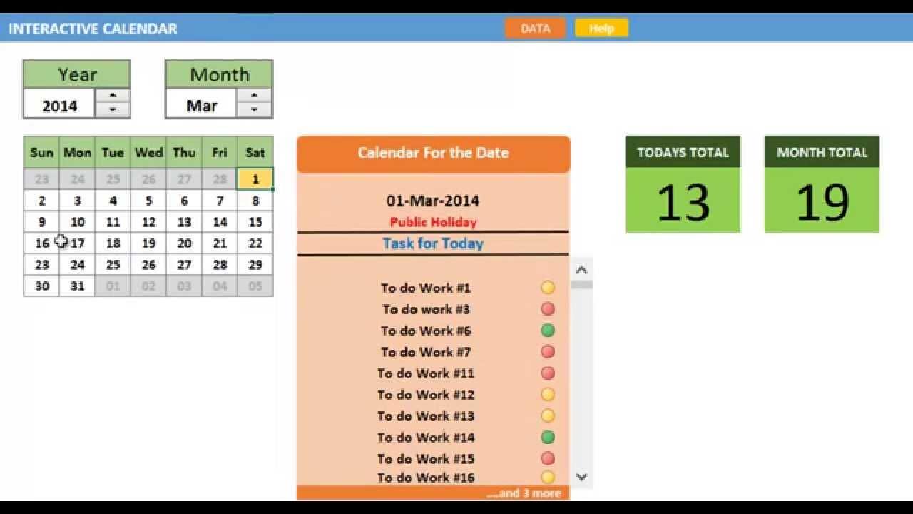 excel interactive calendar