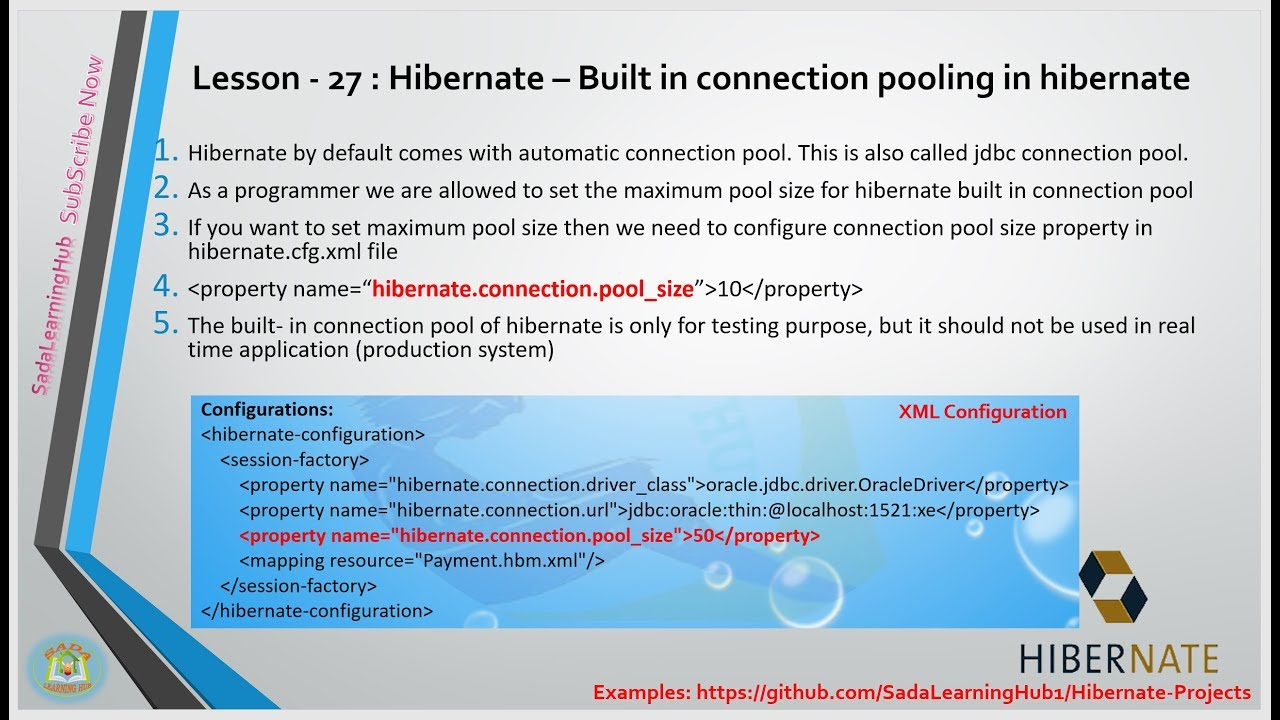 Lesson - 27 : Hibernate - Built-in connection pooling in Hibernate