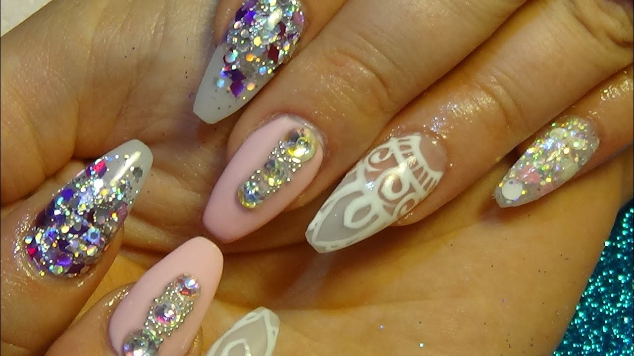 Acrylic Nails Painted Pink