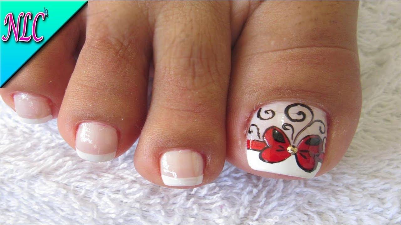Decoración De Uñas Moño Para Pies Decoración De Moño Y Francés French Nail Art Nlc