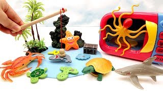 Let's Fishing Sea Animals Toys! Learn Sea Animals Names For Kids! Microwave