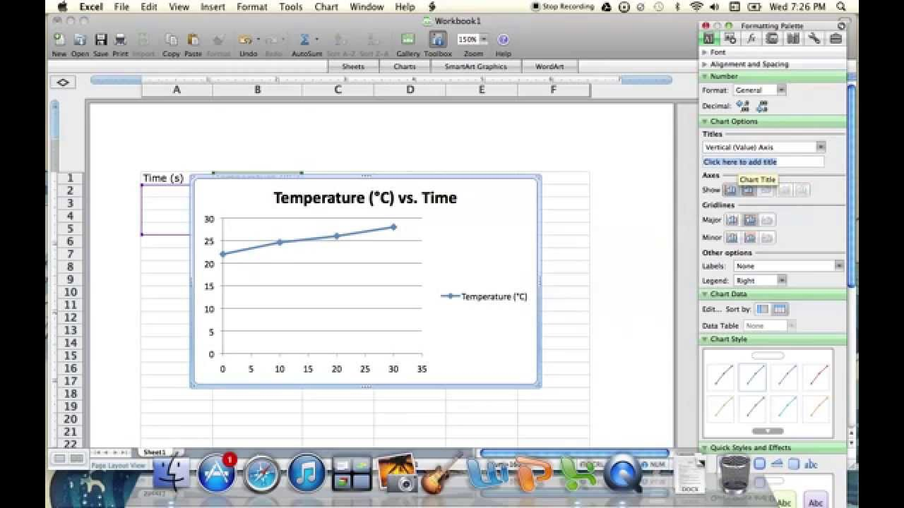 Plotting Temperature vs  Time Graph Using Excel