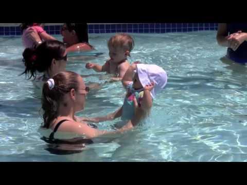 Emily's first swim class  6182010, 9m11d