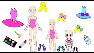 The homemade ballet book- Barbie Paper Doll and her kids dress up like princesses