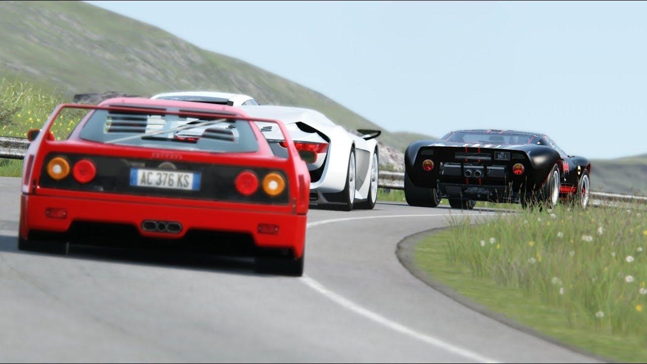 Onboard Ford Gt40 Vs Nissan Gt R Vs Ferrari F40 Vs Citroen Gt Vs Aston Martin Vantage Youtube