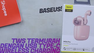 TWS Earphone WIRELESS CHARGING TERMURAH? Unboxing & Quick Review Baseus Encok W04 Pro!